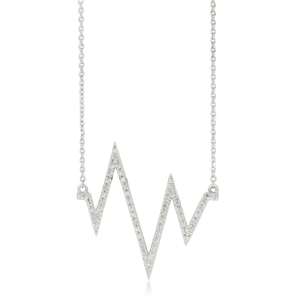 9ct White Gold Diamond Heartbeat Necklace