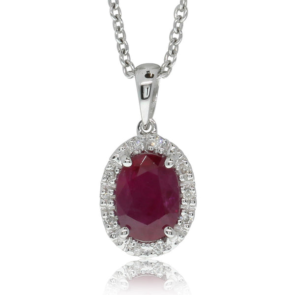 9ct White Gold .95ct Ruby & Diamond Halo Pendant - Walker & Hall