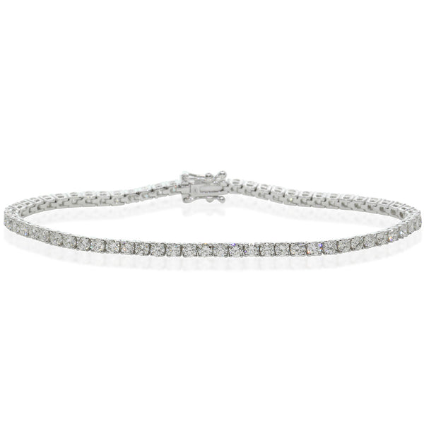 18ct White Gold 4.30ct Diamond Tennis Bracelet - Walker & Hall