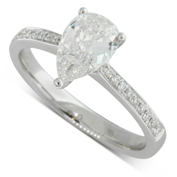 18ct White Gold Pear Cut Diamond Ring - Walker & Hall