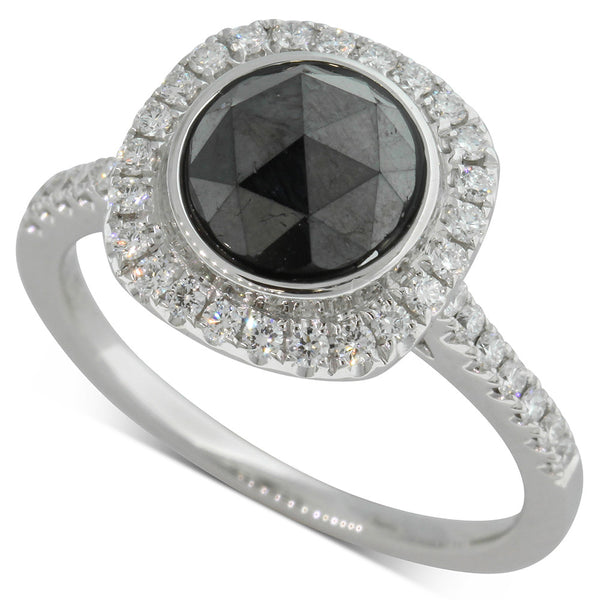 18ct White Gold Rose Cut Black Diamond Ring - Walker & Hall
