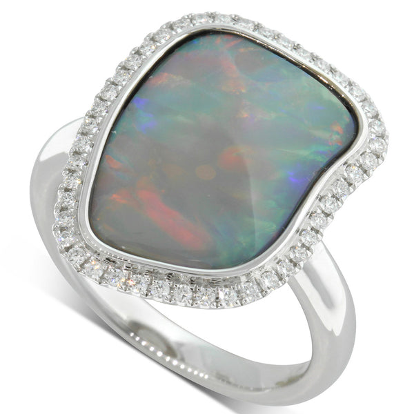 18ct White Gold 2.50ct Opal & Diamond Dress Ring - Walker & Hall