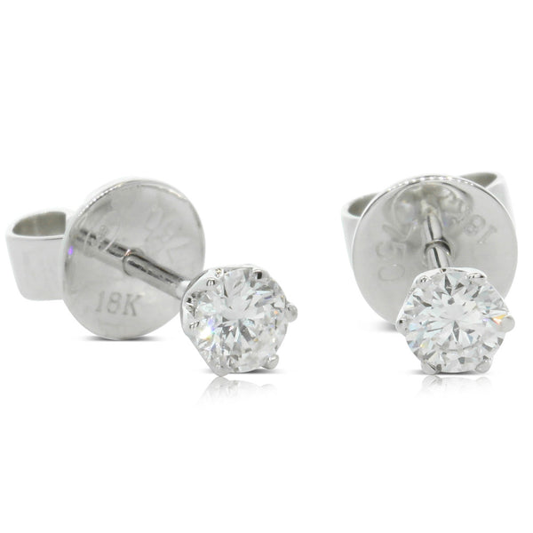 18ct White Gold .52ct Diamond Lily Earrings - Walker & Hall