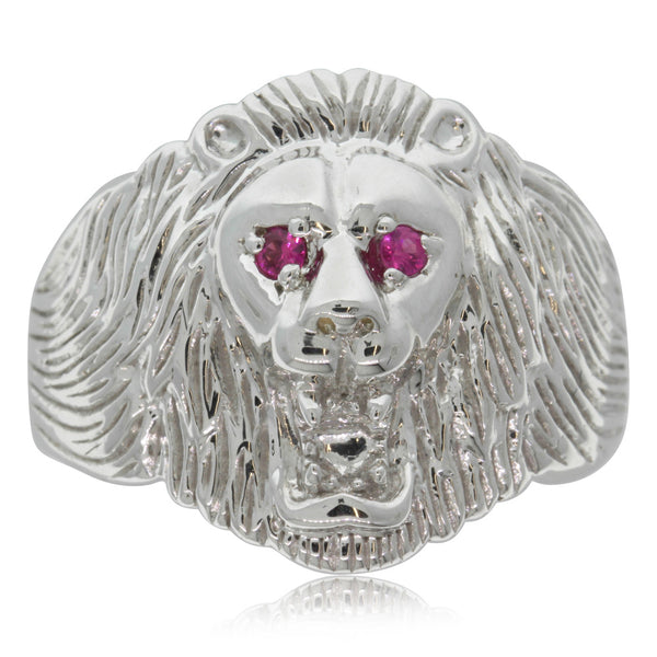 Sterling Silver Lion Ring With Rubies
