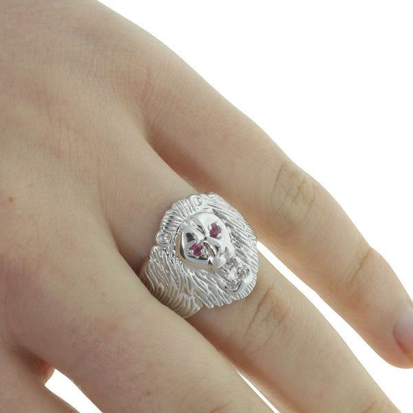 Sterling Silver Lion Ring With Rubies - Walker & Hall