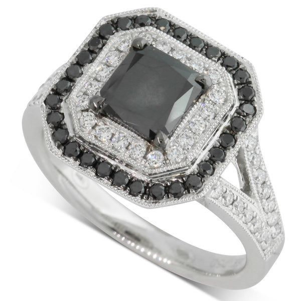 18ct White Gold Princess Cut Black Diamond Ring - Walker & Hall