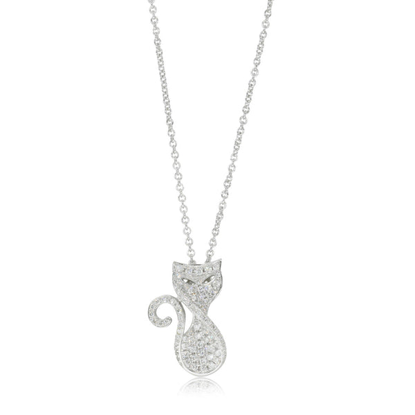 18ct White Gold .35ct Diamond Cat Pendant - Walker & Hall