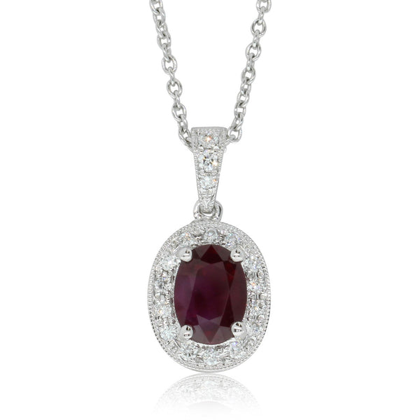 18ct White Gold Ruby & Diamond Halo Pendant - Walker & Hall