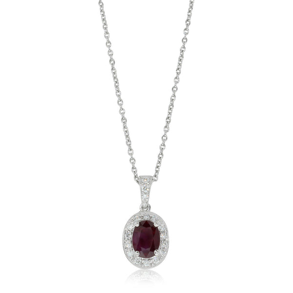 18ct White Gold .88ct Ruby & Diamond Halo Pendant - Walker & Hall