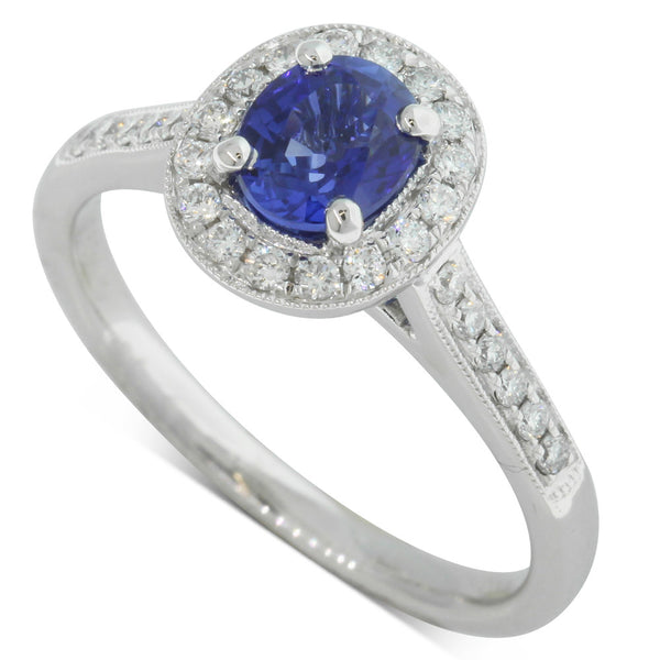 18ct White Gold .90ct Sapphire & Diamond Halo Ring - Walker & Hall