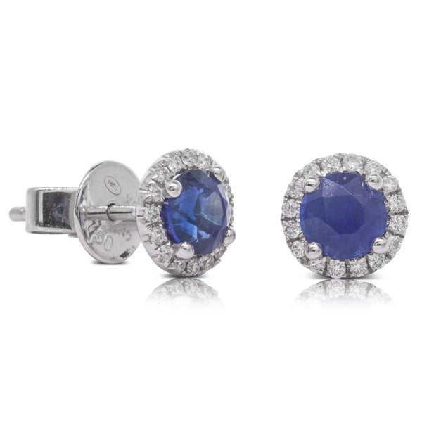 18ct White Gold 1.50ct Sapphire & Diamond Halo Studs - Walker & Hall