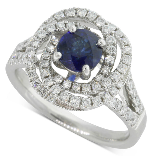 18ct White Gold 1.05ct Sapphire & Diamond Ring - Walker & Hall