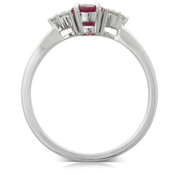 18ct White Gold .75ct Ruby & Diamond Ring - Walker & Hall