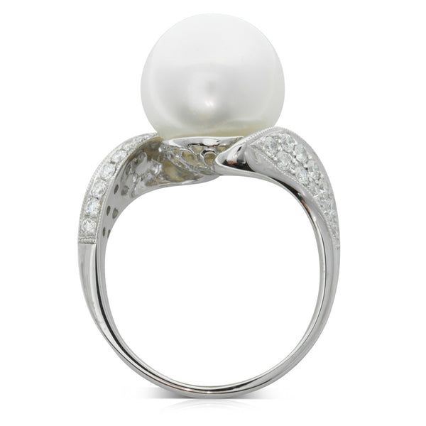 18ct White Gold South Sea Pearl & Diamond Ring - Walker & Hall