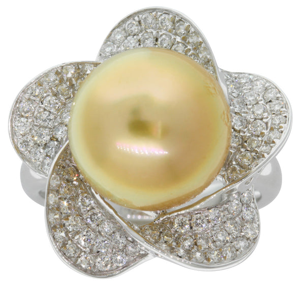18ct White Gold Yellow Pearl & Diamond Ring - Walker & Hall