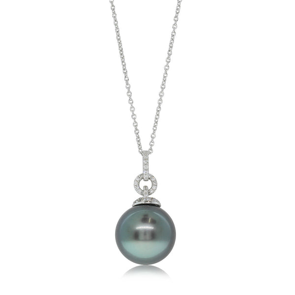 18ct White Gold Tahitian Pearl & Diamond Pendant - Walker & Hall