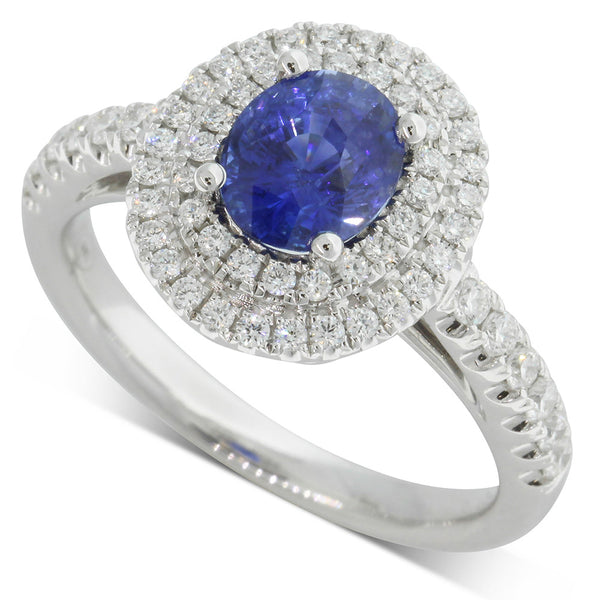 18ct White Gold 1.52ct Sapphire & Diamond Ring - Walker & Hall