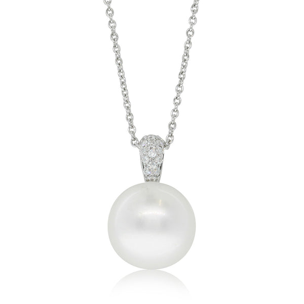 18ct White Gold South Sea Pearl & Diamond Pendant - Walker & Hall