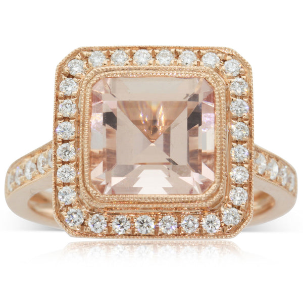 18ct Rose Gold Morganite & Diamond Ring - Walker & Hall