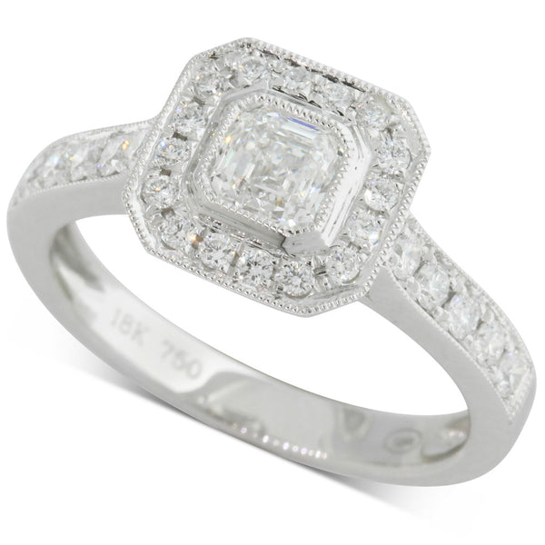 18ct White Gold .54ct Emerald Cut Diamond Halo Ring - Walker & Hall