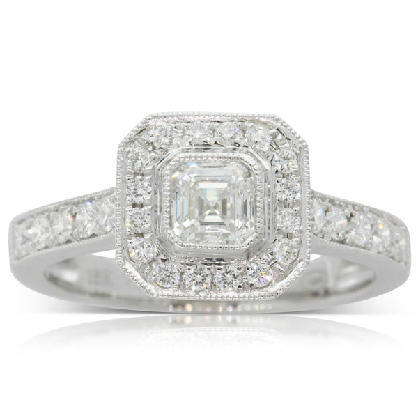 18ct White Gold Emerald Cut Diamond Halo Ring - Walker & Hall