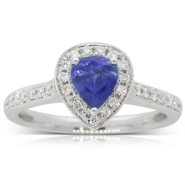 18ct White Gold 1.01ct Sapphire & Diamond Halo Ring - Walker & Hall