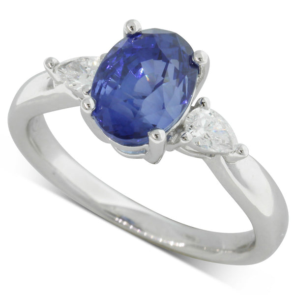18ct White Gold 3.02ct Sapphire & Diamond Ring - Walker & Hall
