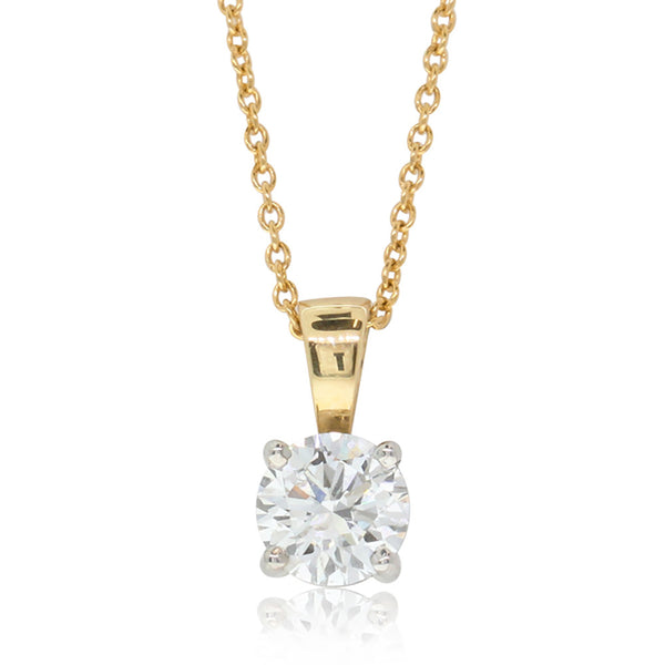 18ct Yellow Gold Diamond Solitaire Pendant - Walker & Hall
