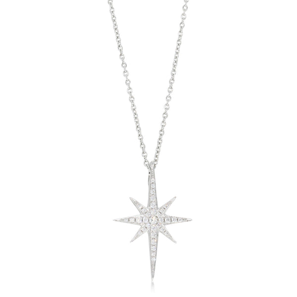 18ct White Gold Diamond Supernova Pendant - Walker & Hall
