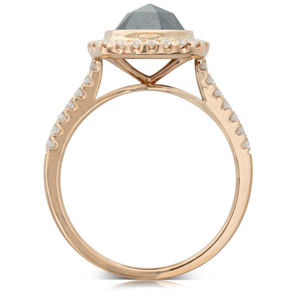 18ct Rose Gold 1.76ct Rose Cut Black Diamond Ring - Walker & Hall