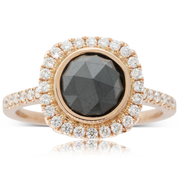 18ct Rose Gold Rose Cut Black Diamond Ring - Walker & Hall