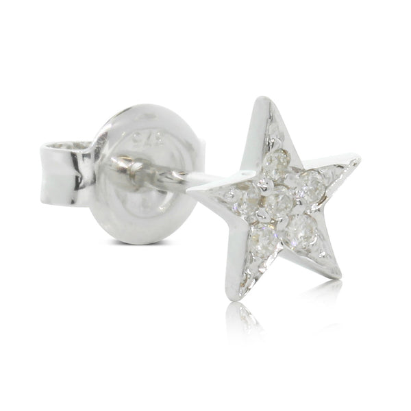 9ct White Gold Diamond Star Ear Jacket - Single Earring - Walker & Hall