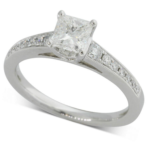 18ct White Gold .73ct Princess Cut Diamond Ring - Walker & Hall
