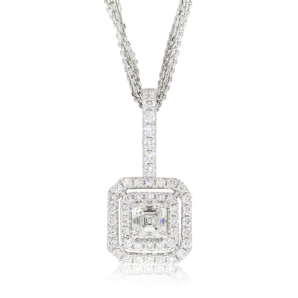 18ct White Gold Square Emerald Cut Diamond Pendant - Walker & Hall