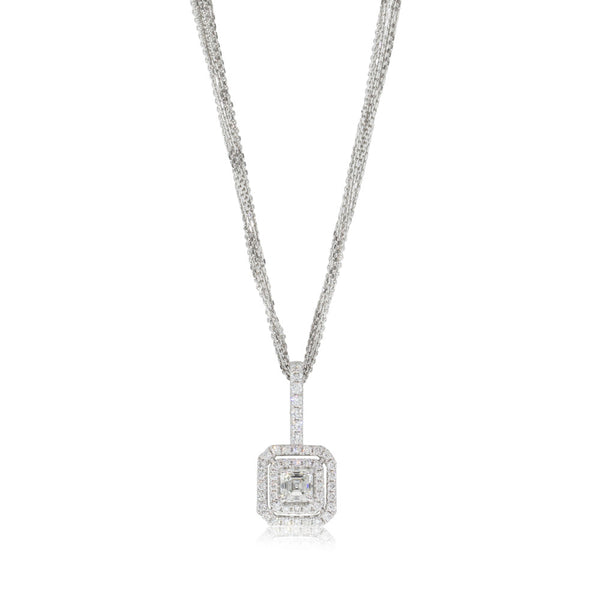 18ct White Gold .90ct Square Emerald Cut Diamond Pendant - Walker & Hall