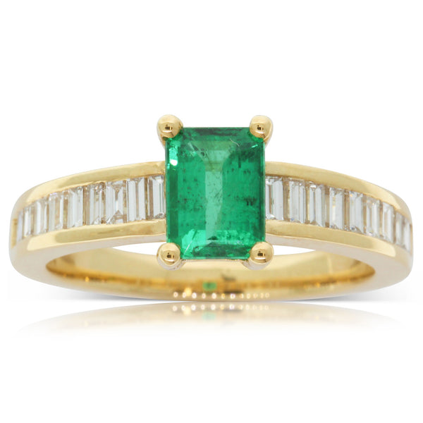 18ct Yellow Gold .98ct Emerald & Diamond Ring - Walker & Hall