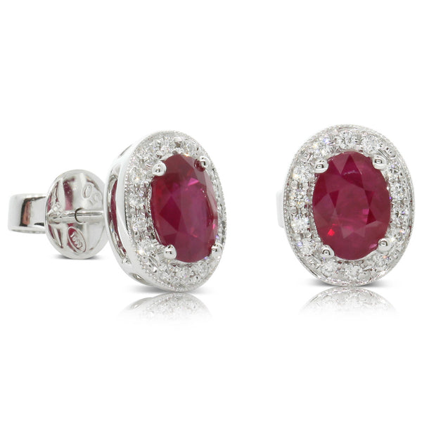 18ct White Gold 2.00ct Ruby & Diamond Earrings - Walker & Hall