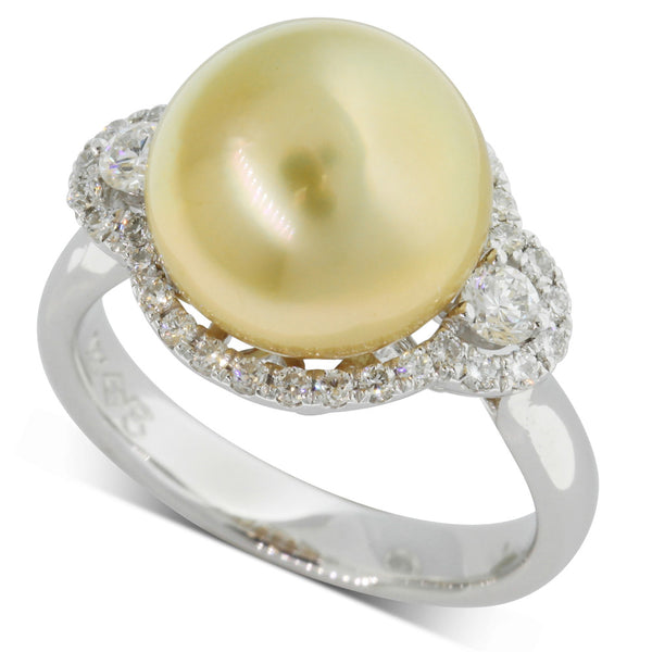 18ct White Gold Golden Pearl & Diamond Ring