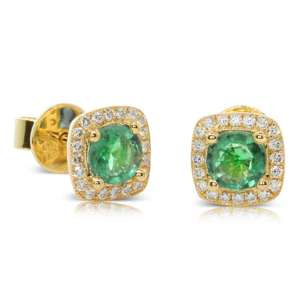 18ct Yellow Gold Emerald & Diamond Earrings - Walker & Hall