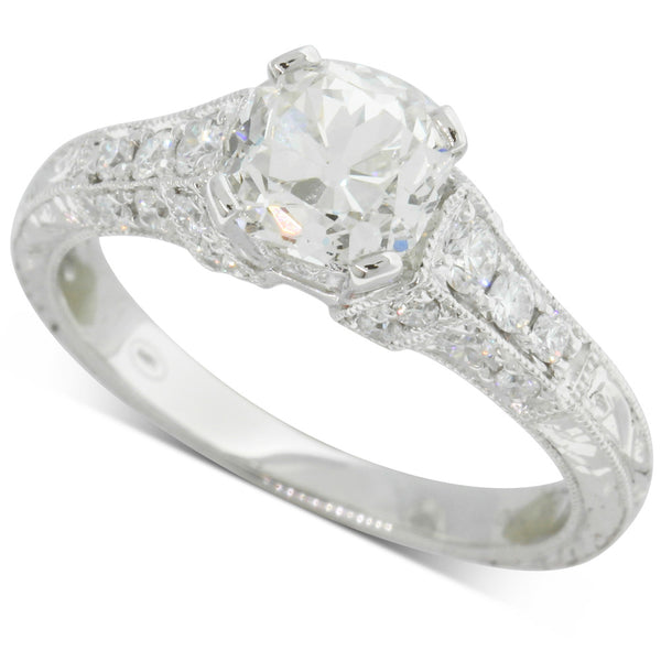18ct White Gold 1.03ct Cushion Cut Diamond Ring