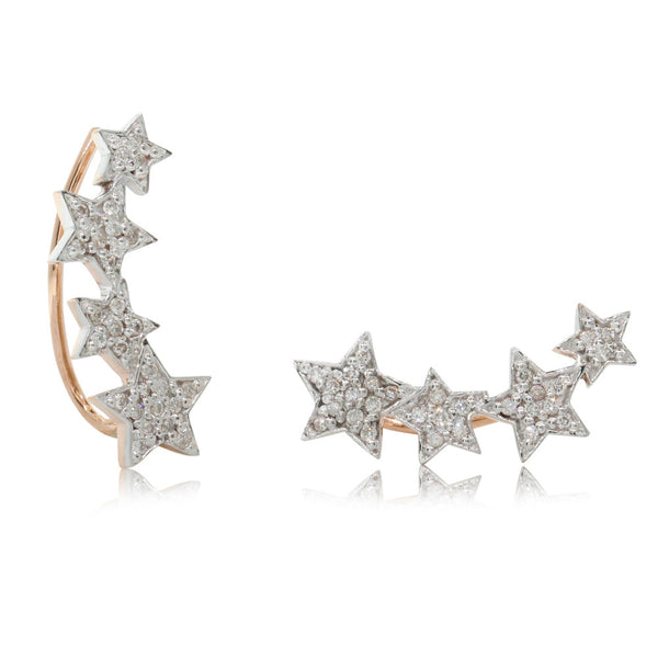 9ct Rose Gold Diamond Star Climber Earrings - Walker & Hall