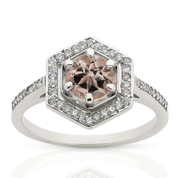 Meadowlark Hexagon Engagement Ring - 9ct White Gold & Morganite - Walker & Hall