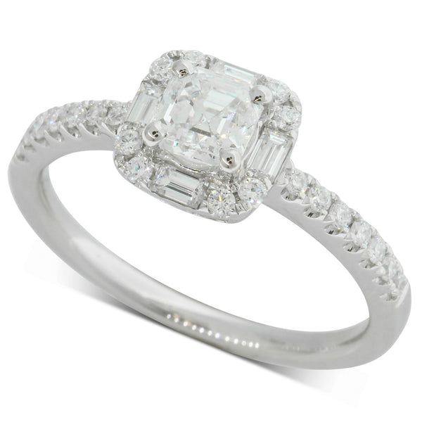 18ct White Gold .59ct Square Emerald Cut Diamond Ring - Walker & Hall