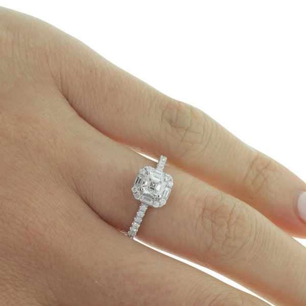 18ct White Gold Square Emerald Cut Diamond Ring - Walker & Hall