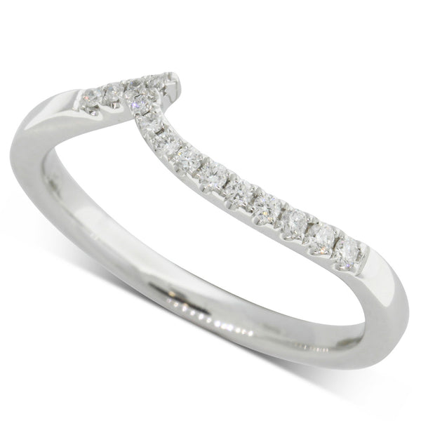 18ct White Gold .12ct Diamond Shaped Band - Walker & Hall