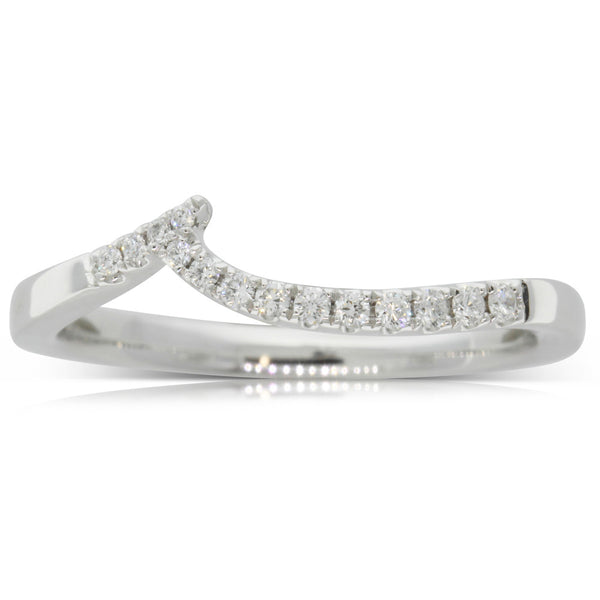 18ct White Gold .12ct Diamond Curved Band - Walker & Hall