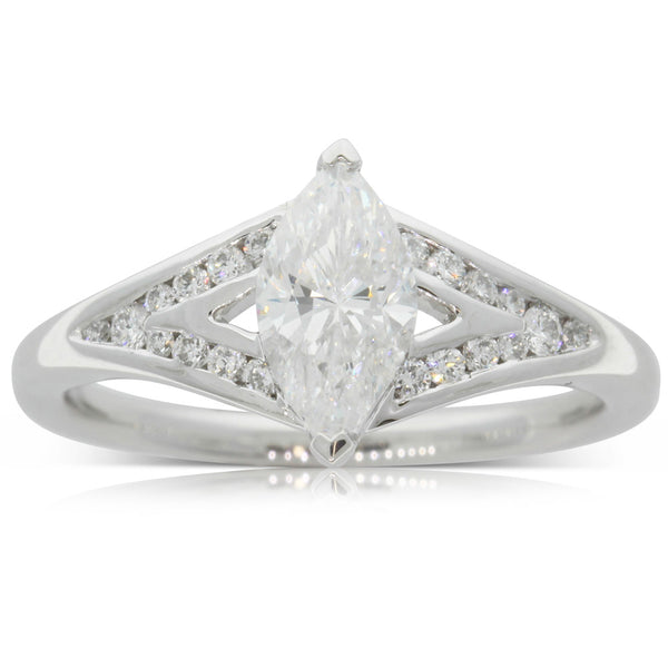 18ct White Gold 1.00ct Marquise Cut Diamond Ring - Walker & Hall