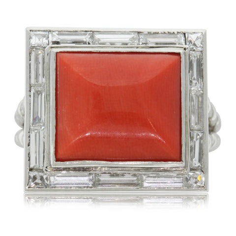 Vintage Platinum Coral & Diamond Ring - Walker & Hall