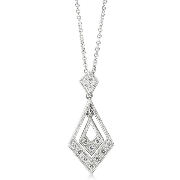 18ct White Gold .35ct Diamond Drop Pendant - Walker & Hall
