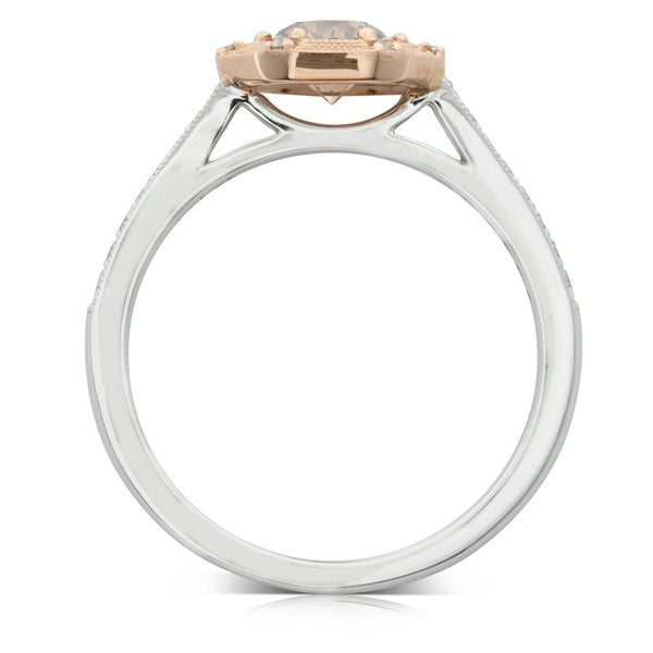 18ct White Gold & 18ct Rose Gold .60ct Mocha Diamond Ring - Walker & Hall